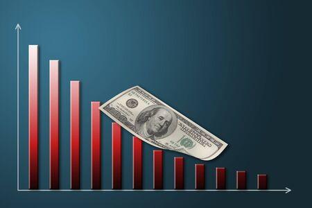 Recesja Ameryki gospodarczych, wchodzących Dollar Bill z dołu wykresu trendu