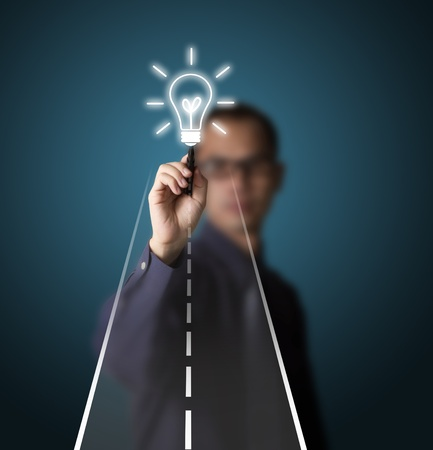 business man drawing road to creativity or idea Stock Photo - 13193842