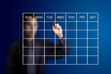 school schedule: business man drawing schedule