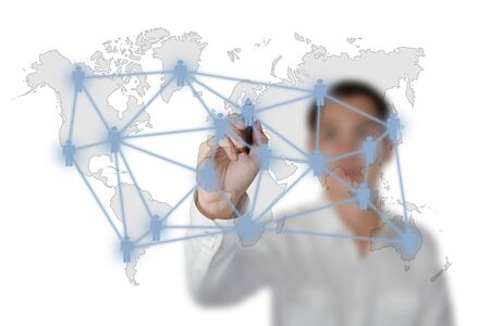 business man drawing social network or business connection with world map on white board Stock Photo - 13193931