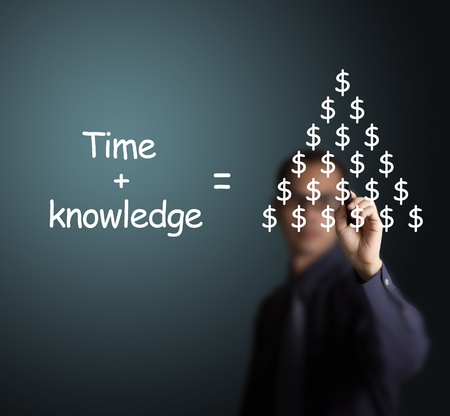 having time and knowledge can make lots of money concept write by business man photo
