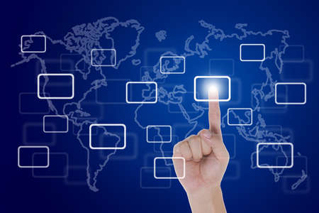 hand push a touch screen button with world map Stock Photo - 13194010
