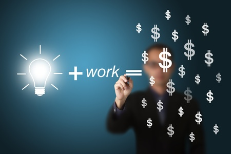 idea and work can make lots of money equation draw by business man photo
