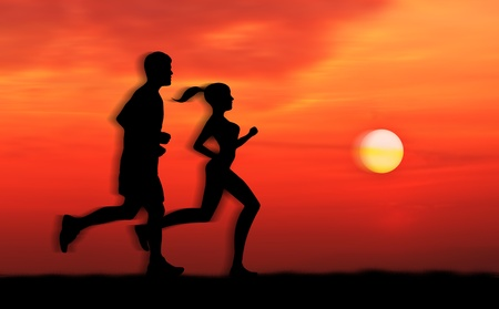 pair of man and woman run together at sunrise photo