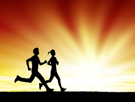 pair of healthy man and woman run together at sunrise silhouetted photo