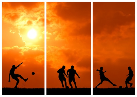 soccer background: collection of soccer player playing with ball during sunset silhouetted
