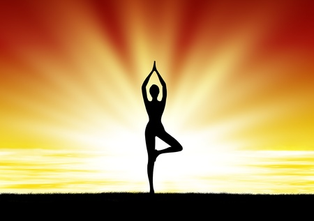 healthy woman  practice yoga at beach during sunset silhouetted photo
