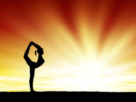 healthy woman  practice yoga at sunset silhouetted Stock Photo - 13224552