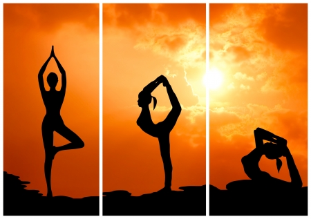 yoga sunset: collection of healthy woman practice yoga at sunset silhouetted