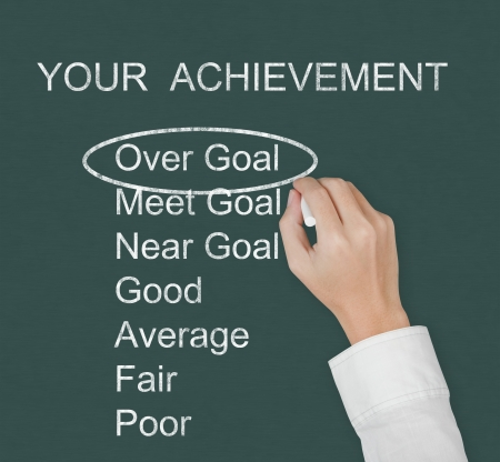 hand marking over goal achievement on chalkboard photo
