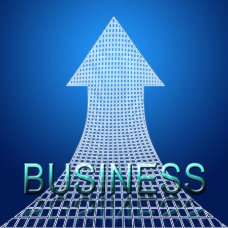 rising business concept, upward trend arrow with business text photo