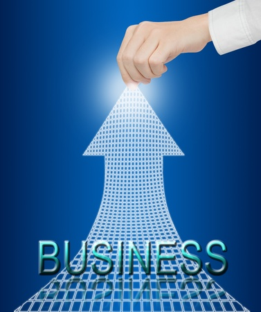 hand pulling financial business arrow to higher position photo