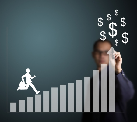 strive: business man climbing up to money on upward trend graph draw by a businessman