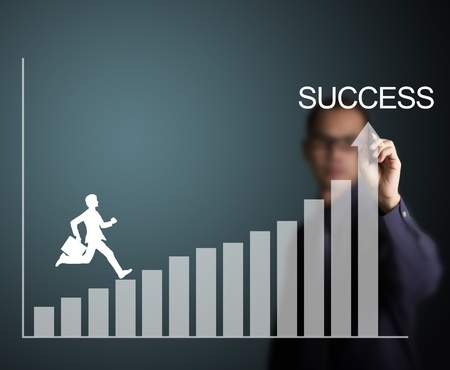 business man climbing up to success on upward trend graph draw by a businessman photo
