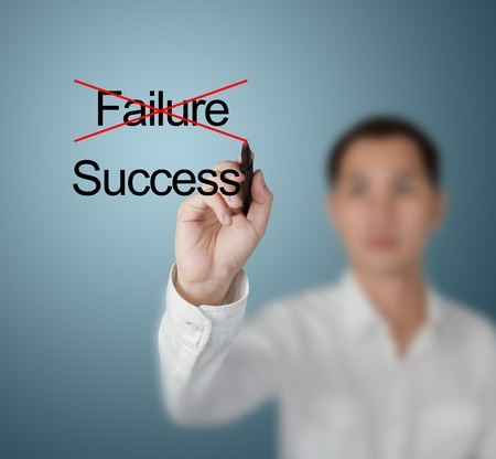 eliminate: business man eliminate failure and find success Stock Photo