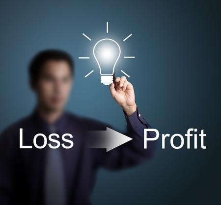 perdidas y ganancias: buena idea puede cambiar la p�rdida de beneficios por escrito por el hombre de negocios