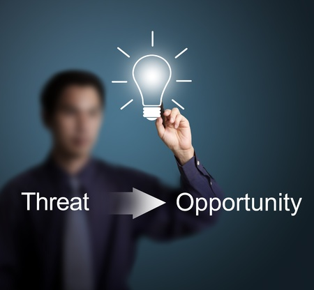 good idea can change threat to opportunity writing by business man photo