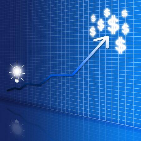 경향: 파란색 배경 상승 금융 그래프에 돈을 비즈니스 개념, 전구 및 돈 아이디어 사전