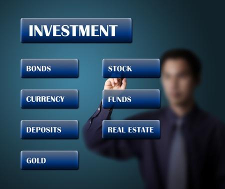 anleihe: Geschäftsmann schriftlich Anlagekonzept oder Investitionsplan auf weissem Karton