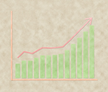 upward trend graph made of recycled paper photo