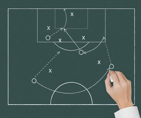 soccer coach hand drawing strategy plan on chalkboard photo