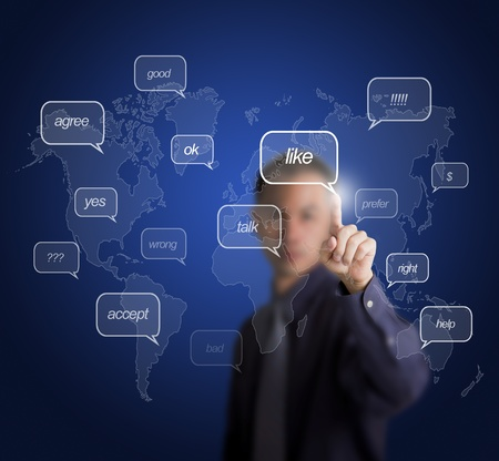 business man pointing on social network bubble speech photo