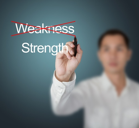 weakness: business man eliminate weakness and choose strength Stock Photo