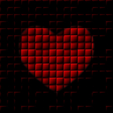 red square blocks heart valantine day card photo