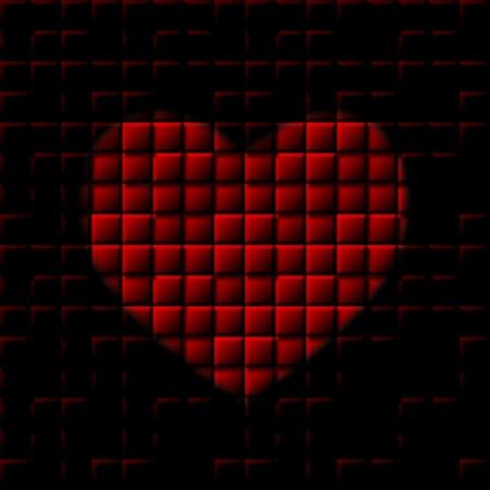 red square blocks heart valantine day card photo