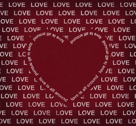enclose: love is all around the red heart, valantine background Stock Photo
