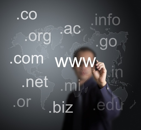domains: business man writing various website domain name with world map background on whiteboard