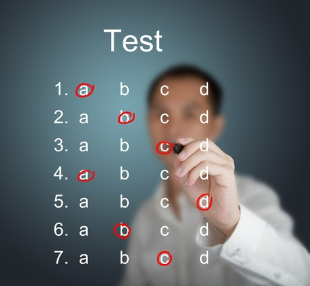 business man make choice on test result form photo