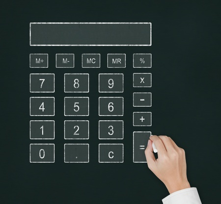 calculating: male hand drawing digital calculator on chalkboard