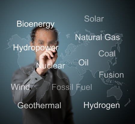 natural resource: business man writing energy sources in the world Stock Photo