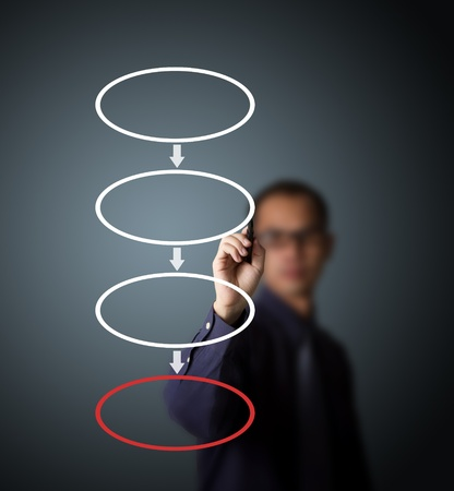 four hands: business man drawing blank four stage strategy flowchart Stock Photo
