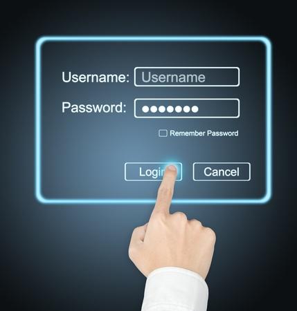 password: mano masculina presionando el botón de inicio de sesión con pantalla táctil para acceder a la página de Internet