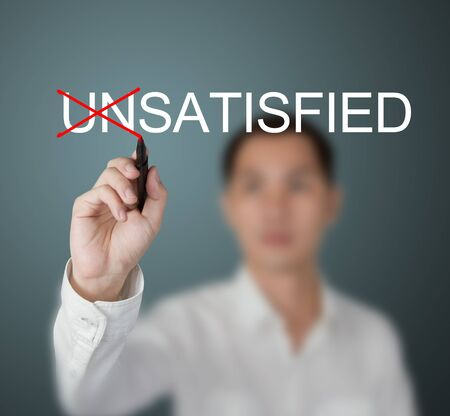 unsatisfied: business man change unsatisfied to satisfied by write red cross mark