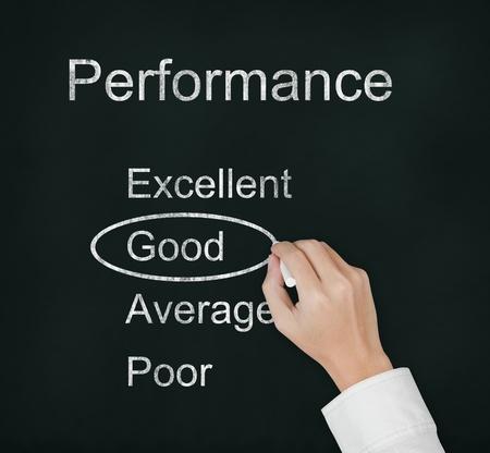hand evaluate good performance on chalkboard Stock Photo - 13225260