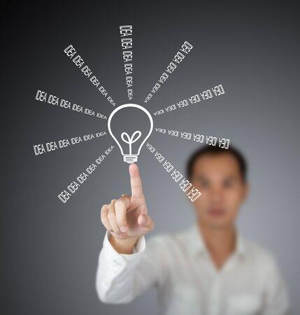 man pointing at idea light bulb photo