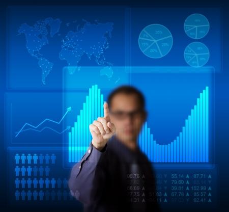 data analysis: business man access graphic data on modern computer touchscreen