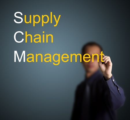 hand chain: businessman writing supply chain management concept on whiteboard