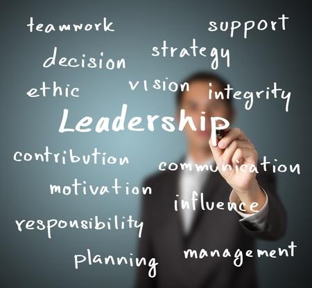 ethic: businessman writing leadership skill concept