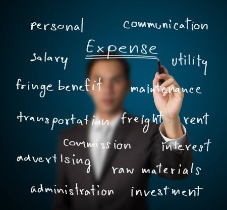 businessman writing costing concept - many tpye of expense photo