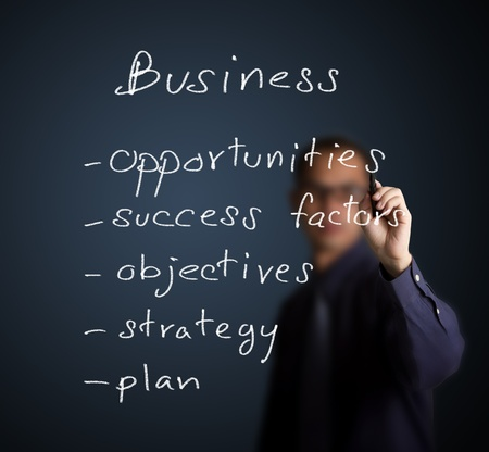 business process: businessman writing business process concept opportunity - success factor - objective - strategy - plan Stock Photo