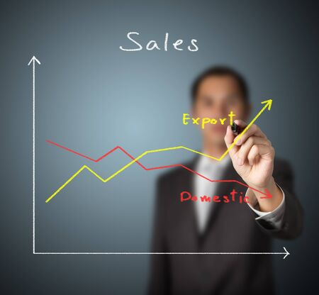 business man drawing graph to compare upward trend export sales with downward trend domestic sales photo