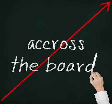 equivalent: hand writing phase across the board and red cross arrow on chalkboard Stock Photo