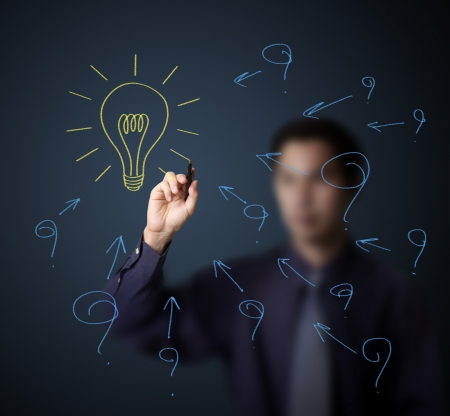 problem solution: business man drawing problem or question and solution light bulb Stock Photo