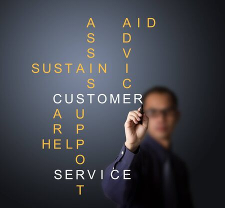 customer services: business man writing customer service concept - assist - aid - advice - care - help - sustain - support