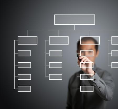 organigrama: hombre de negocios de dibujo de organigrama en el pizarrón Foto de archivo