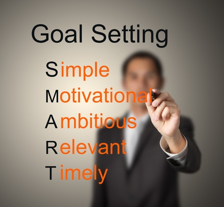 setting goals: business man writing  concept of smart goal or objective setting - simple - motivational - ambitious - relevant - timely